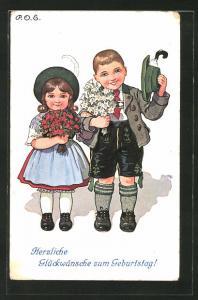 Künstler-AK P. O. Engelhard (P.O.E.): Kinderpaar in bayrischer Tracht grüsst zum Geburtstag
