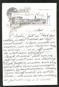 Briefkopf Venedig 1905, Hotel Del' Europe Venise, Hotelgebäude am Canal Grande