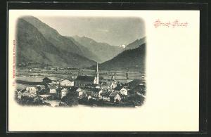 AK Bruck-Fusch, Ortspartie mit Kirche im Gebirge
