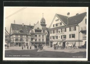 AK Dornbirn, Marktplatz mit Gasthof zum Hirschen