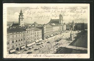 AK Linz, Franz-Josef-Platz gegen Osten aus der Vogelschau