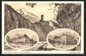 AK Martigny-Ville, Les Hotel Kluser et Mont Blanc