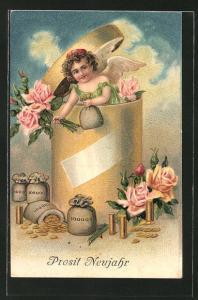 Präge-AK Prosit Neujahr, Neujahrsengel mit Geldsäcken und Rosen