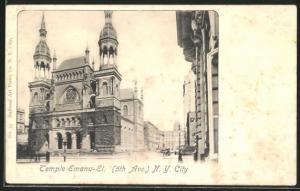 AK New York, NY, Temple Emanu-El, 5 th Avenue, Synagoge