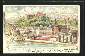Lithographie Salzburg, Stadtpanorama mit Blick auf Hohensalzburg