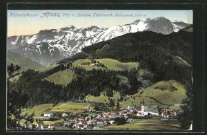 AK Aflenz, Totalansicht mit Bergpanorama