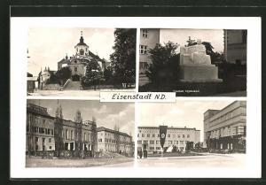 AK Eisenstadt, Lisztdenkmal, Krankenkasse mit flagge, Landhaus und Kirche