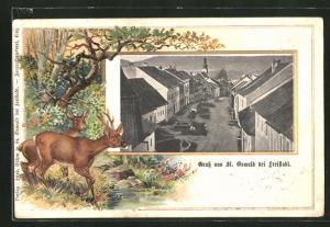 Passepartout-AK St. Oswald, Stadtmitte Häuserzeilen aus der Vogelschau