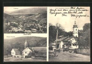 AK Jósvafö, Látkép, Utcza-részlet, Ref. templom részlet