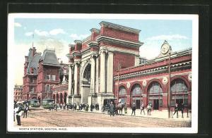 AK Boston, MA, View of North Station, Nord-Bahnhof