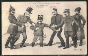 Künstler-AK Kaiser Franz Josef I. von Österreich mit Paul von Hindenburg, Kaiser Franz Josef I. von Österreich