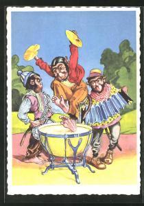 AK Affen mit Saxophon, Kesselpauke und Ziehharmonika
