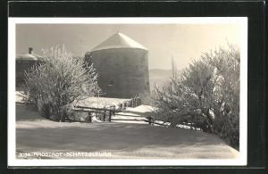 AK Radstadt, Winterpartie am Schatzelturm