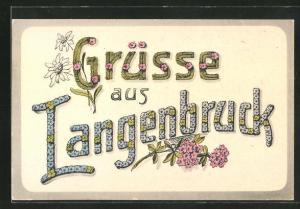 AK Langenbruck, Schriftzug aus Blumen