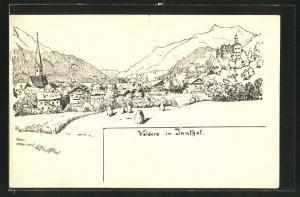 Künstler-AK Volders i. Innthal, Gesamtansicht