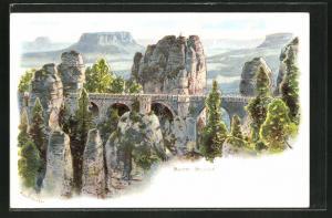 Lithographie Bastei / Sächsische Schweiz, Blick auf die Bastei-Brücke