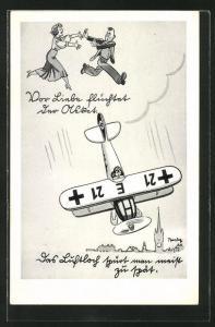 Künstler-AK Ferdinand Barlog: Militärflugzeug mit , Mann flüchtet vor einer Frau