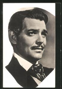 AK Schauspieler Clark Gable mit Schnurrbart und Krawatte