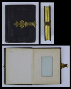 Fotoalbum mit Metallbeschlag & Schliesser, 12 Seiten mit Goldschnitt für CDV-Fotos