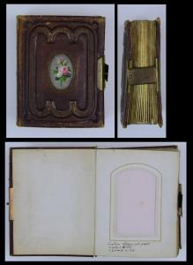 Fotoalbum Ledereinband mit Metallschliesse, 24 Seiten mit Goldschnitt für CDV-Fotos