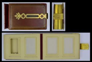 Fotoalbum mit Ledereinband & Metallbeschlägen, Metallschliesse, 25 Seiten mit Goldschnitt für CDV-Fotos