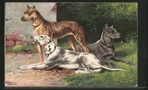 Künstler-AK Alfred Schönian: Doggen lagern vor einem Haus