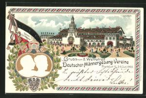 Lithographie Frankfurt a. M., II. Wettstreit Deutscher Männergesang-Vereine 1903, Unser Kaiserpaar, Sängerfest