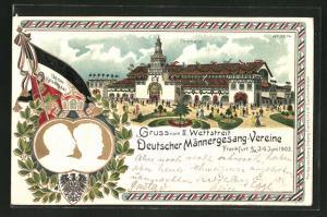 Präge-Lithographie Frankfurt a. M., Wettstreit deutsch. Männer-Gesangvereine 1903, Festhalle, Kaiserpaar