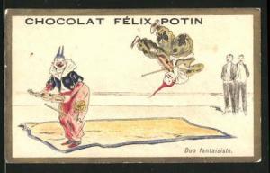Sammelbild Chocolat Felix Potin, Zirkus-Vorstellung, Clown's mit Violine während einer artistischen Vorstellung