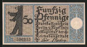 Notgeld Berlin 1921, 50 Pfennig, Berliner Bär und Stadtwappen, Weissensee um 1800