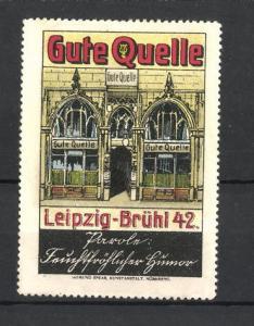 Reklamemarke Leipzig-Brühl, Gasthaus Gute Quelle