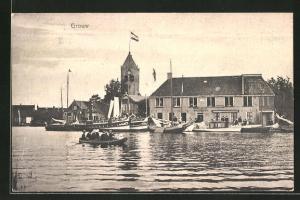 AK Grouw, Panoramablick mit Dampfer und Ruderboot