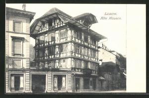 AK Luzern, Alte Häuser im Ortskern
