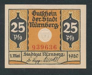 Notgeld Nürnberg 1920, 25 Pfennig, Stadtwappen