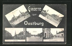AK Oostburg, Prot. en R. K. Kerk, Nieuwstraat, Langstraat, Breedestraat, Markt met Graanbeurs