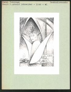 Exlibris von P. Arnold Schneider für Pavel Vodehnal, Damenbüste im Gewölbe, brenndende Kerze