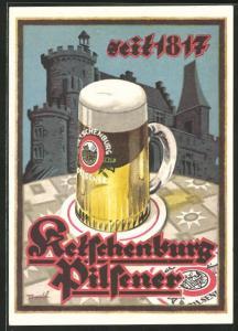 Künstler-AK Ketschenburg Pilsener seit 1817, Brauerei-Werbung