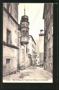 AK Brigue, Rue á Brigue et Tourelle du Chateau de Stockalper