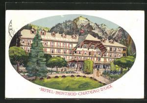 Künstler-AK Château-d`Oex, Vorderansicht vom Hotel Berthod