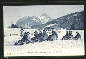 AK Château d`Oex, Paysage d`hiver et la Gumfluh