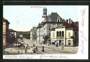 AK Winterthur, Bahnhofstrasse mit Geschäften