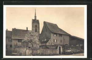 AK Riehen, Ortsansicht mit Kirche