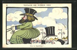 AK Voyage en Russie 1902, Karikatur des französischen Präsidenten Loubet