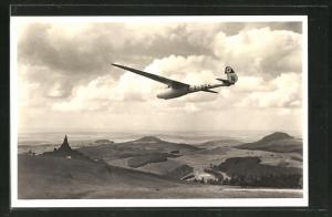 AK Segelflugzeug mit  über der Wasserkuppe