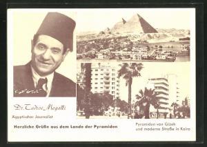 AK Kairo, moderne Strasse, ägyptischer Journalist Dr. Tadros Megalli