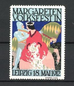 Künstler-Reklamemarke Leipzig, Margareten Volksfest 1912, Ritter mit Dame