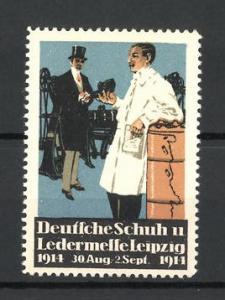 Reklamemarke Leipzig, Deutsche Schuh-und Ledermesse 1914, Schumacher mit Kundschaft