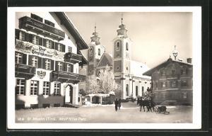 AK St. Johann,  Platz mit Post & Telegraphenamt und Kirche