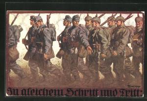Künstler-AK Franz Kuderna: Soldaten in Uniform mit Gewehren beim Marsch