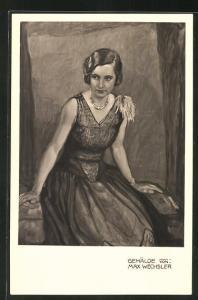 Künstler-AK sign. F. Wechsler: Elegante Dame im Abendkleid